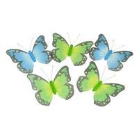 """6' Blue And Green Glitter Mesh Butterfly Garland - 15"""" butterflies"""