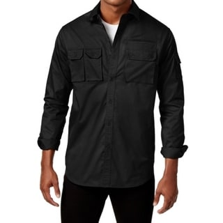 Sean John NEW Black Mens Medium M Multi-Pocket Flight Button Down Shirt