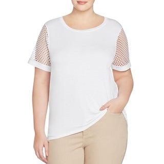 Michael Kors Womens Plus Casual Top Lace Inset Scoop - 3x