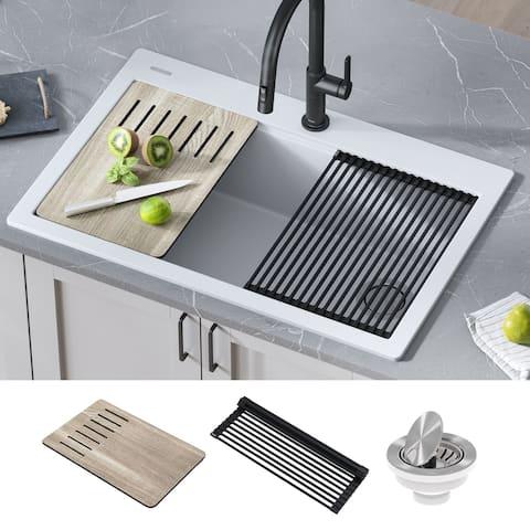 KRAUS Bellucci Workstation 33-inch Drop-in Granite 1-bowl Kitchen Sink