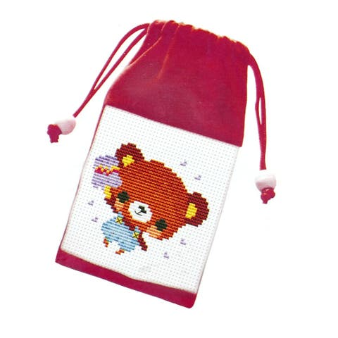 Unique Bargains Bear Print Cross Stitch Counted Handmade Kit Cell Phone Bag Pouch
