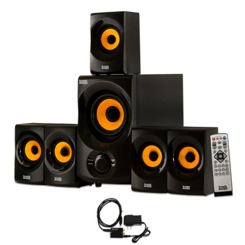 Acoustic Audio 5.1 Bluetooth Speaker System with FM and Digital Optical Input