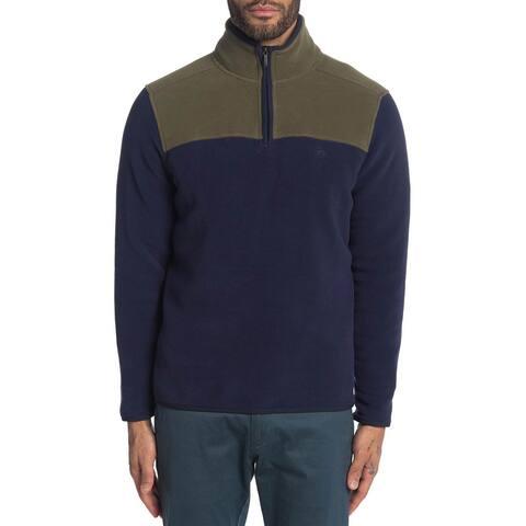 Brooks Brothers Mens Colorblock Quarter Zip Polar Fleece Pullover S Navy/Green