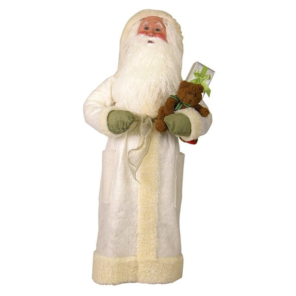 """30"""" Winter White Glittered Santa Claus Trimmed in Faux Fur Christmas Display Decoration"""