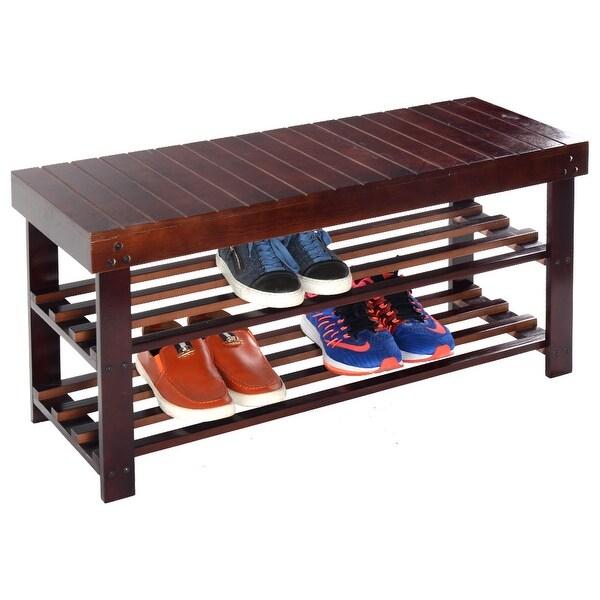 Shop Costway 36'' Solid Wood Shoe Bench Storage Racks Seat