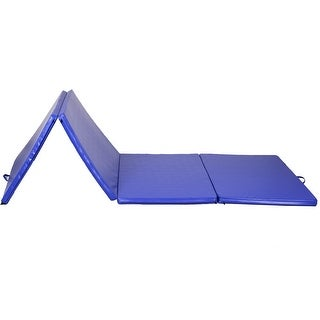 Gymax Blue 4'x10'x2'' Folding Exercise Gym Mats Stretching Yoga Gymnastics Mat