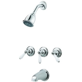 Pfister G01-81P Tub and Shower Trim Package with Multi Function Shower Head and Porcelain Lever Handles