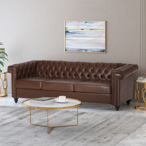 Parkhurst Velvet or Fabric Tufted Chesterfield 3 Seater Sofa by Christopher Knight Home
