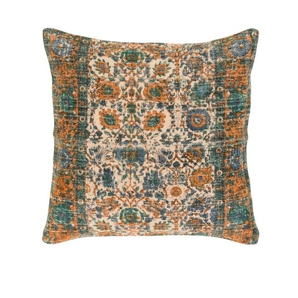 "18"" Backyard Blooms Taupe Brown and Mango Orange Decorative Square Throw Pillow"