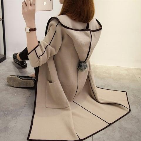 Medium And Long Section Korean Loose Hood Women's Coat Jacket