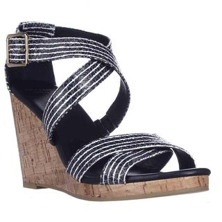 Cole Haan Lillian Wedge Criss-Cross Sandals, Blue Snake
