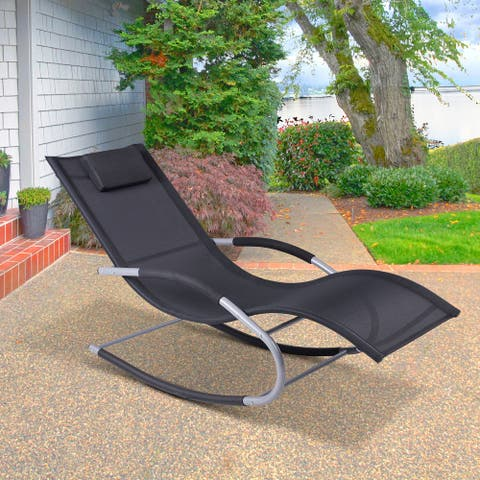 Zero Gravity Suspended Reclining Poolside Wave Rocker Lounge Chair