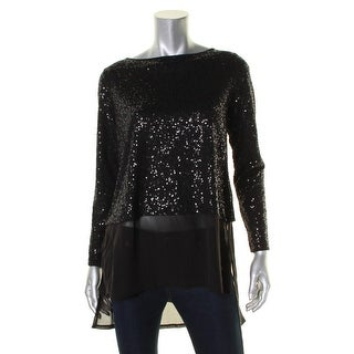 Eileen Fisher Womens Petites Blouse Silk Sequined