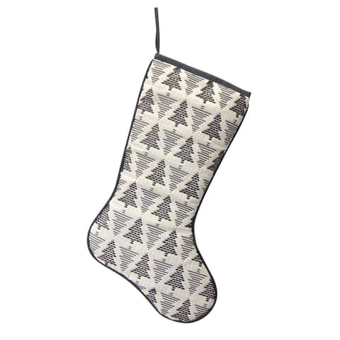 """Set of 6 Gray and White Contemporary Tree Stocking Christmas Décor 18.5"""""""