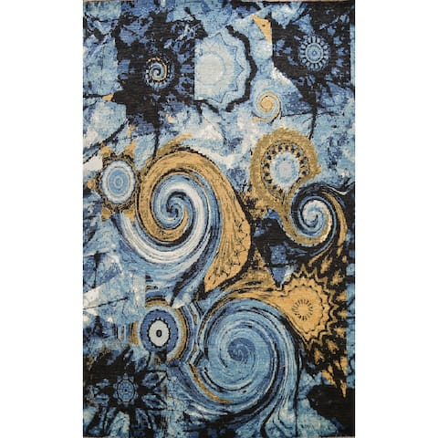 """Wool/ Silk Vegetable Dye Oriental Abstract Area Rug Hand-knotted - 9'1"""" x 12'0"""""""