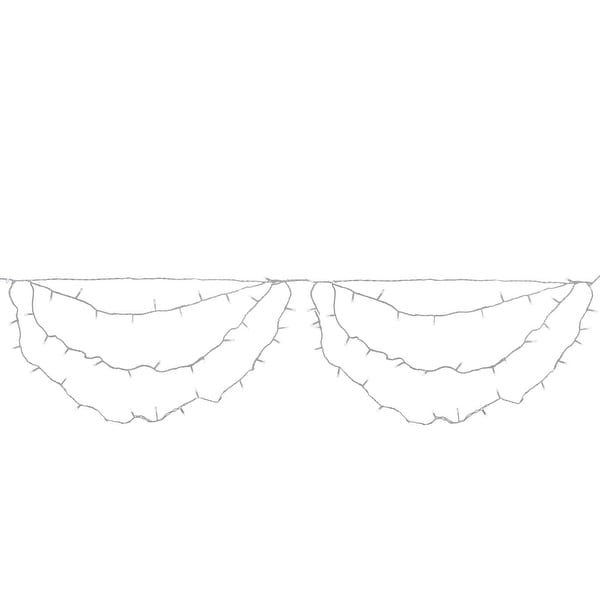 "Set of 150 Pure White LED Swag Christmas Lights 3.5"" Spacing - White Wire"