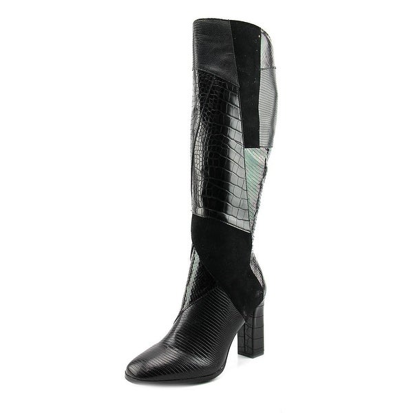 Impo Onnie Women Round Toe Canvas Black Knee High Boot