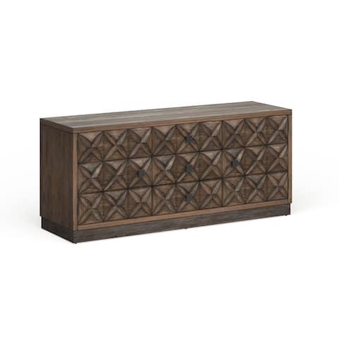 Furniture of America Brei Rustic Oak 64-inch 4-shelf 3-drawer TV Stand