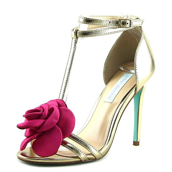 Betsey Johnson SB-Emme Women Open-Toe Canvas Gold Heels
