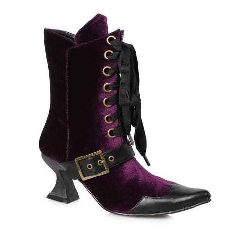 Womens Tabby Purple Velvet Ankle Witch Booties