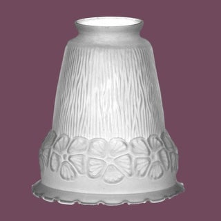 Lamp Shade Frosted Glass Flowers Bell 5 1/2 H 2 1/4 Fitter