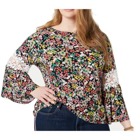 Tommy Hilfiger Womens Blouse Red Size 3X Plus Scoop Neck Crochet Trim