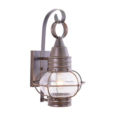 Chatham 1 Light Bronze Coastal Outdoor Wall Lantern Clear Glass - 10-in W x 18-in H x 11-in D
