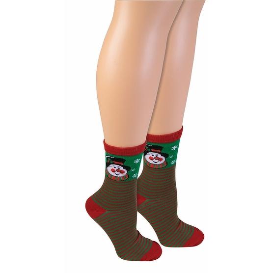 Ugly Christmas Snowman Ankle Socks Adult - Green
