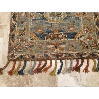 "Safavieh Handmade Aspen Bohemian & Eclectic Grey/ Navy Wool Tassel Rug - 2'3"" x 7' Runner"