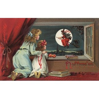 Halloween Greeting Witch in Window Vintage Holiday (Art Print - Multiple Sizes)