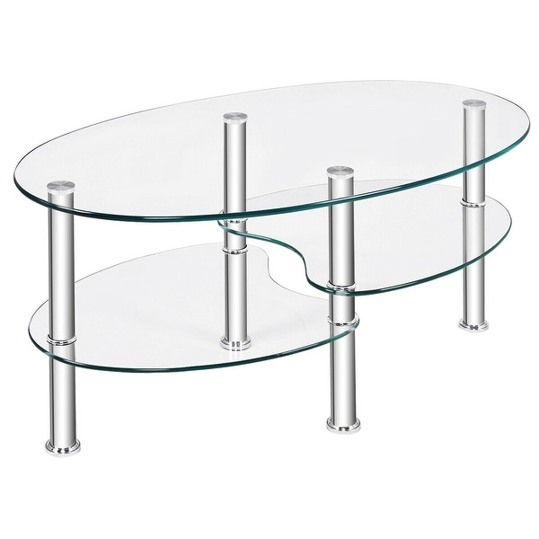Costway Tempered Glass Oval Side Coffee Table Shelf Chrome Base Living Room Clear. Opens flyout.