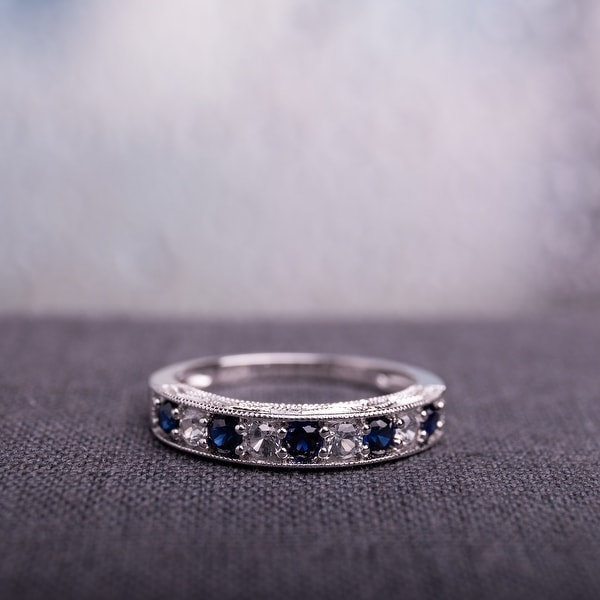 Miadora Sterling Silver Created Sapphire Stackable Anniversary Ring. Opens flyout.