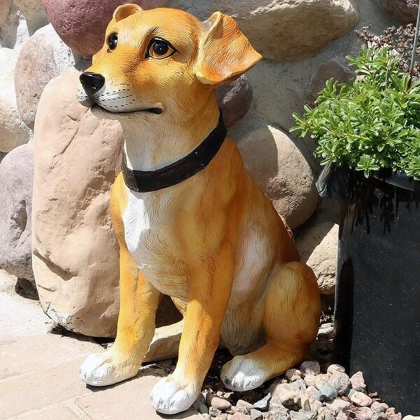 Sunnydaze Tan Jack Russell Terrier Outdoor Garden Dog Statue, 16-Inch