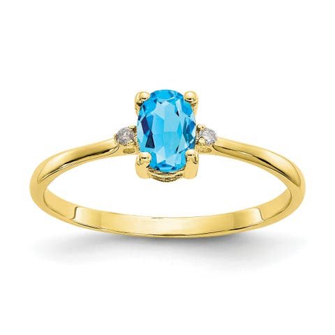 10K Yellow Gold Polished Geniune Diamond and Blue Topaz Birthstone Ring by Versil