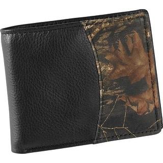 Legendary Whitetails Men's Mossy Oak Black Leather Billfold Wallet - One Size