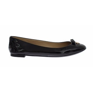 Dolce & Gabbana Black Patent Leather Heart Ballet Flat Shoes - 34