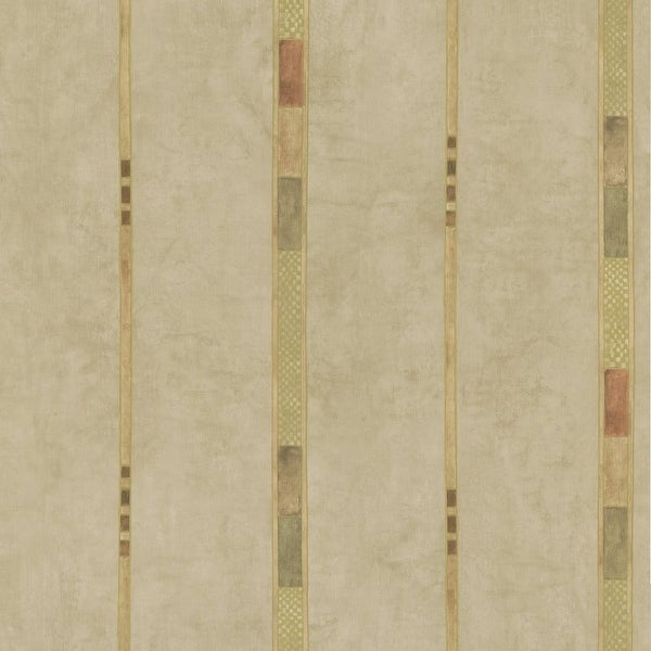 Brewster 347-43078 Tenney Beige Checkered Stripe Wallpaper - N/A