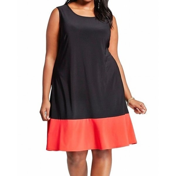 be27102cd1d79 Shop MSK NEW Black Red Colorblock Women s 2X Plus Scoop Neck A-Line Dress - Free  Shipping On Orders Over  45 - Overstock.com - 21428766