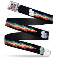 My Little Pony Logo Full Color Black Pink Mlp Rainbow Dash Lightning Bolt Seatbelt Belt