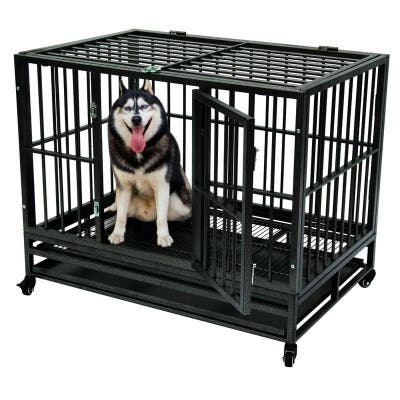 Heavy Duty Metal 42-inch Dog Cage Crate/ Trolley with Wheel Tray