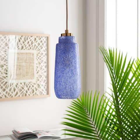 "Ellington Contemporary Textured Glass 1-light Pendant - 5"" x 5"" x 14"" - 5"" x 5"" x 14"""