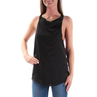 GUESS $59 Womens New 1345 Black Low Back Sleeveless Cowl Neck Blouse Top XS B+B