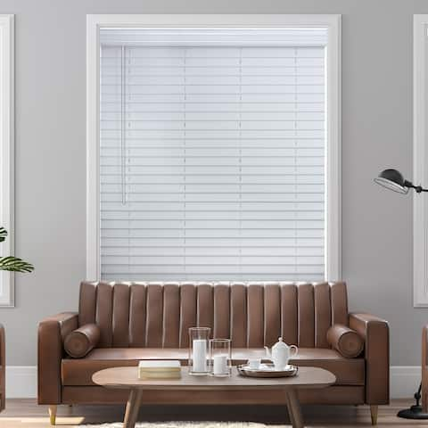"""2"""" Cordless Faux Wood Blind - Smooth White"""