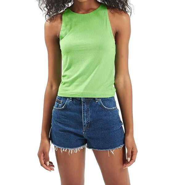 300900e52d1 Shop TopShop NEW Green Women's Size 8 Crewneck Ribbed Cropped Tank Blouse -  Free Shipping On Orders Over $45 - Overstock.com - 19504175