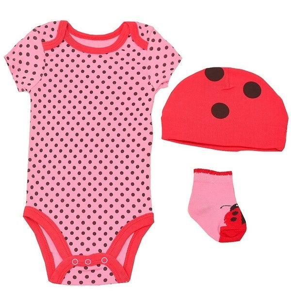 Baby Girls Pink Red Black Lady Bug Polka Dot Cap Socks Bodysuit 3 Pc Set