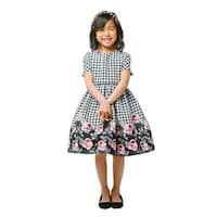 Sweet Kids Girls Rose Print Houndstooth Jacquard Christmas Dress 7-12