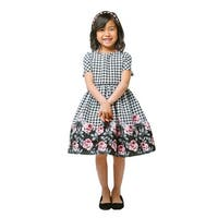 Sweet Kids Little Girls Rose Print Houndstooth Jacquard Christmas Dress 2-6