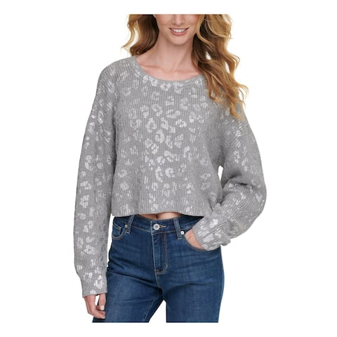 DKNY Womens Gray Printed Long Sleeve Crew Neck Sweater Size S