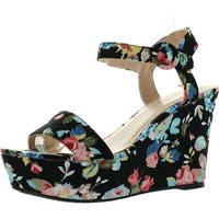 Qupid Womens Ardor-23 Wedge Sandals - black/multi fabric