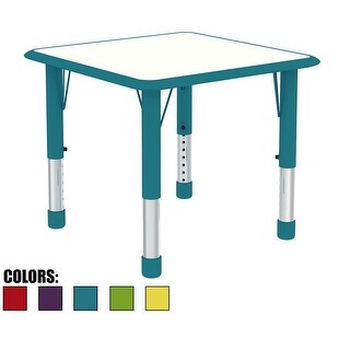 2xhome Adjustable Height Kids Table For Toddler Child Children Preschool Daycare School Wood Chrome Activity Kid Home Teal
